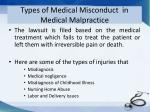types of medical misconduct in medical malpractice