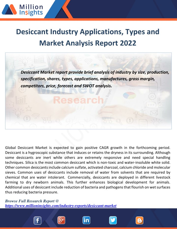 desiccant industry applications types and market n.