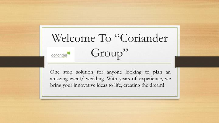 welcome to coriander group n.