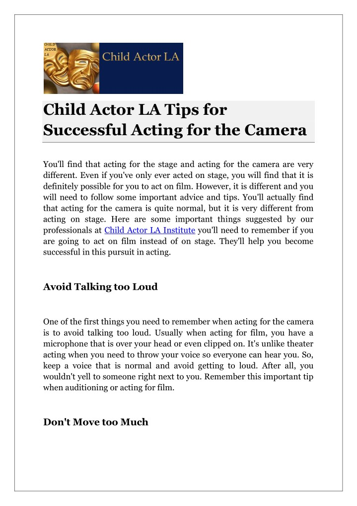 child actor la tips for successful acting n.