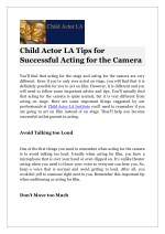 child actor la tips for successful acting