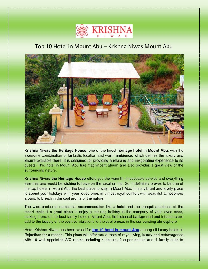 top 10 hotel in mount abu krishna niwas mount abu n.