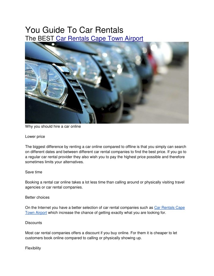 you guide to car rentals the best car rentals n.