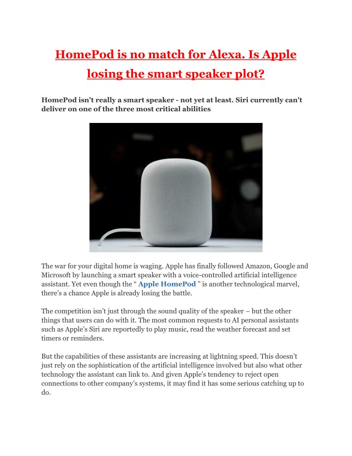 homepod is no match for alexa is apple n.