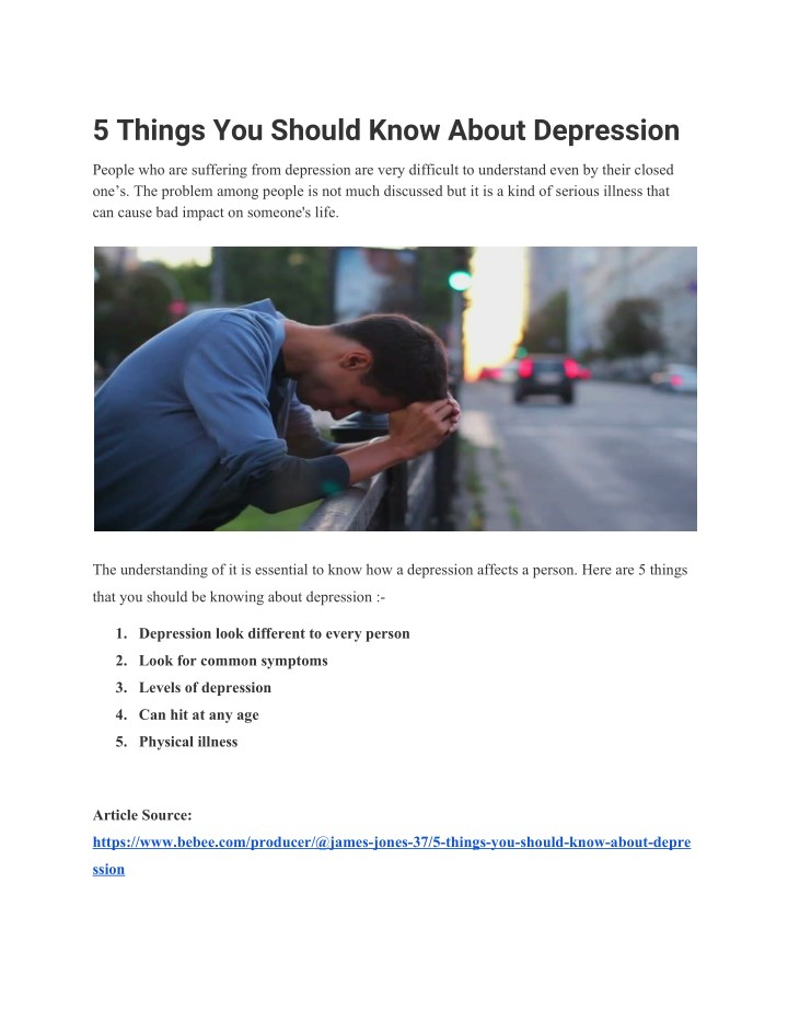 5 things you should know about depression n.