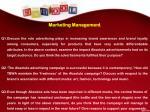 marketing management q1 discuss the role