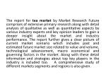 the report for tea market by market research