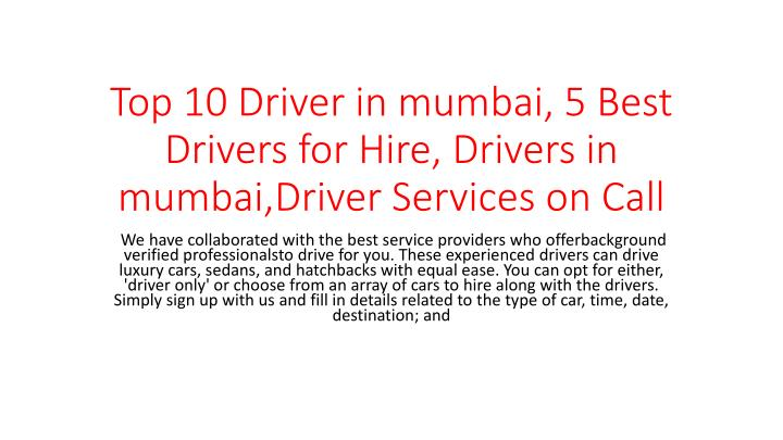 top 10 driver in mumbai 5 best drivers for hire drivers in mumbai driver services on call n.