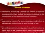 marketing management q1 discuss the role