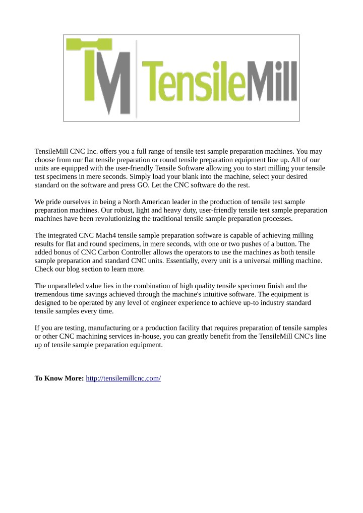 tensilemill cnc inc offers you a full range n.