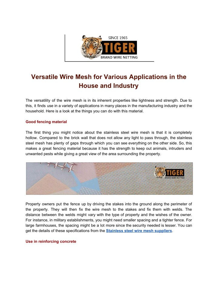 versatile wire mesh for various applications n.