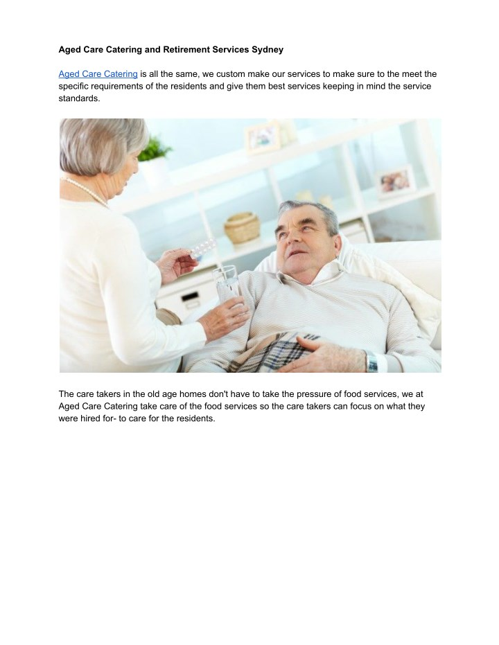 aged care catering and retirement services sydney n.