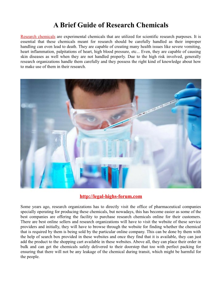a brief guide of research chemicals n.