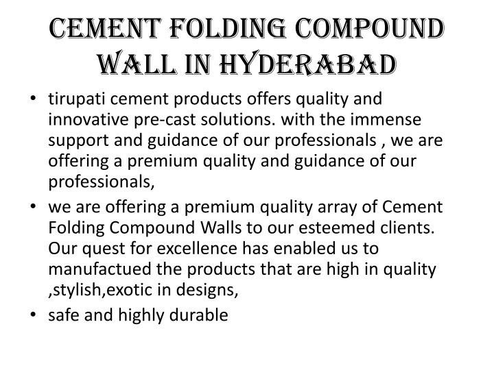 cement folding compound wall in hyderabad n.