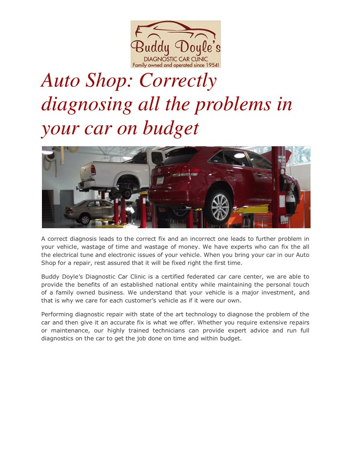 auto shop correctly diagnosing all the problems n.