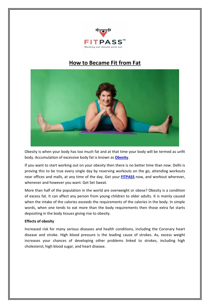how to became fit from fat n.