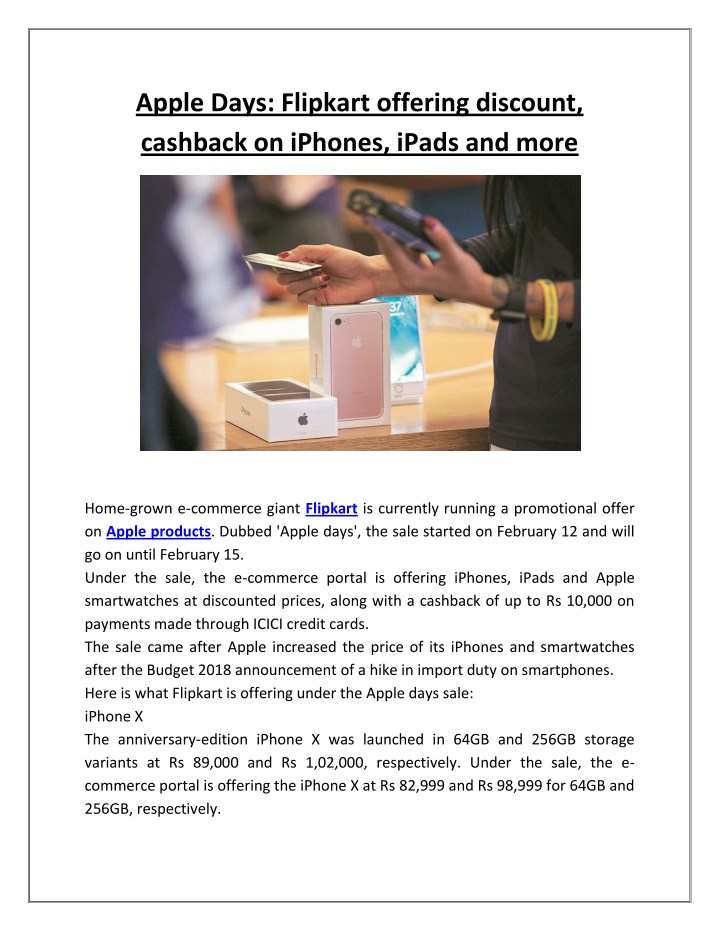 apple days flipkart offering discount cashback n.