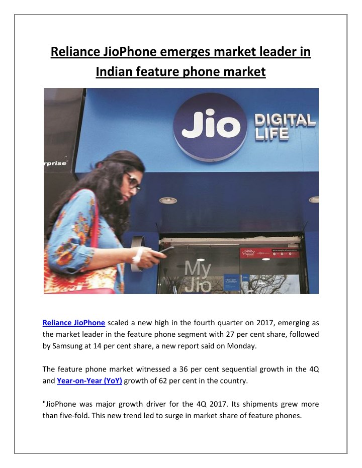 reliance jiophone emerges market leader in indian n.