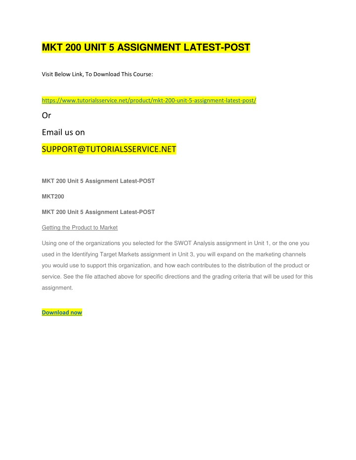 mkt 200 unit 5 assignment latest post n.
