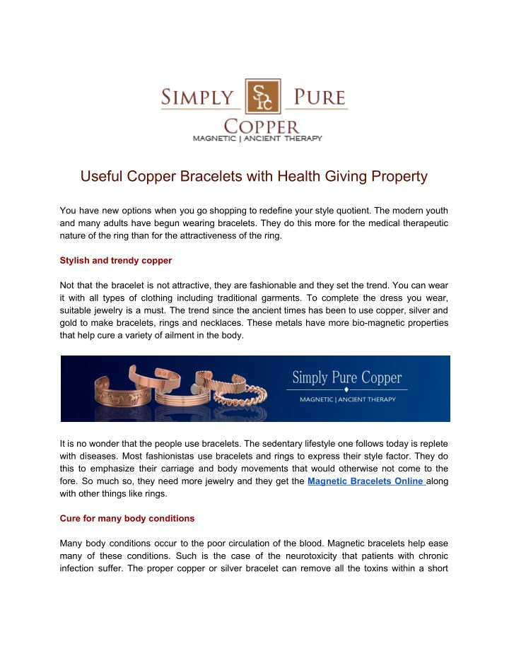 useful copper bracelets with health giving n.