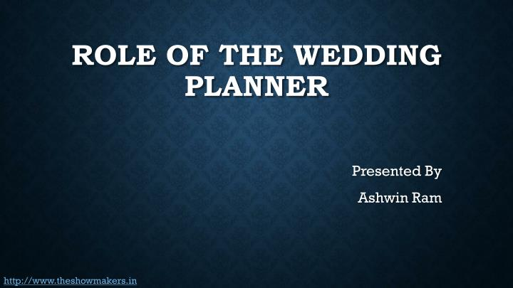role of the wedding planner n.