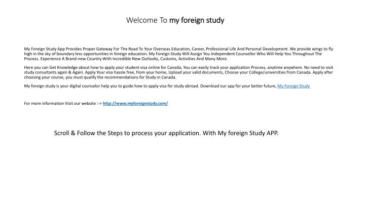 welcome to my foreign study n.