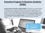executive program in business analytics epba