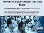 international executive masters in business iemb