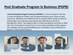 post graduate program in business pgpb