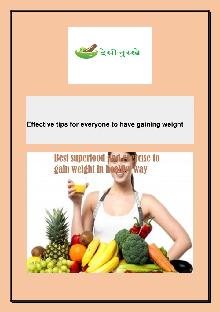 effective tips for everyone to have gaining weight n.
