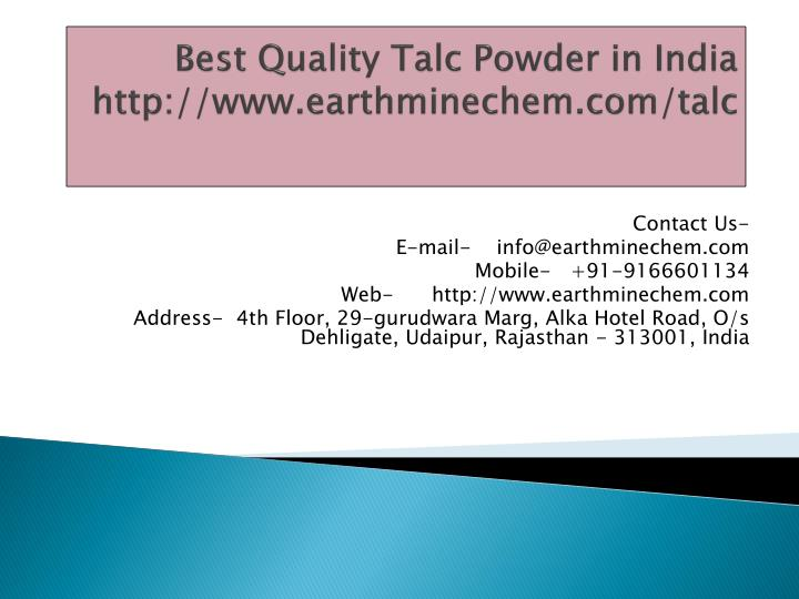 best quality talc powder in india http www earthminechem com talc n.