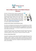 how to make the most of the mobile network
