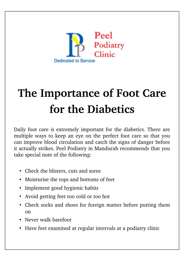 the importance of foot care for the diabetics n.