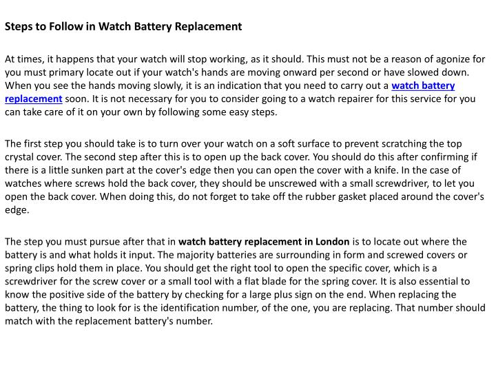 steps to follow in watch battery replacement n.