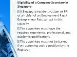 eligibility of a company secretary in singapore