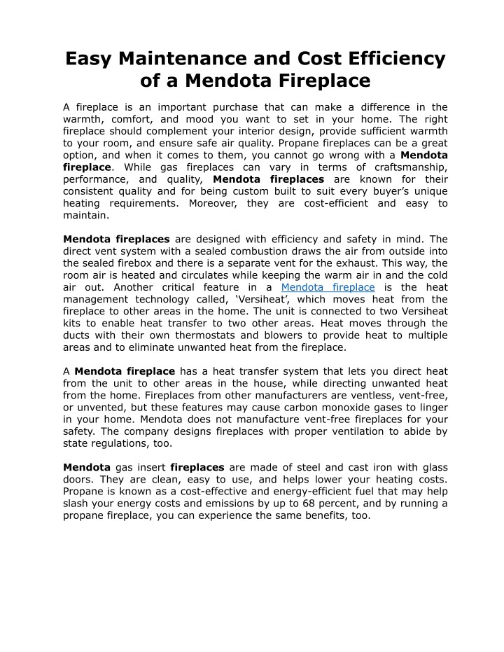 easy maintenance and cost efficiency of a mendota n.