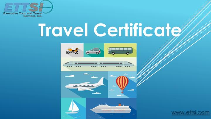 travel certificate n.