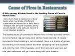 cause of fires in restaurants