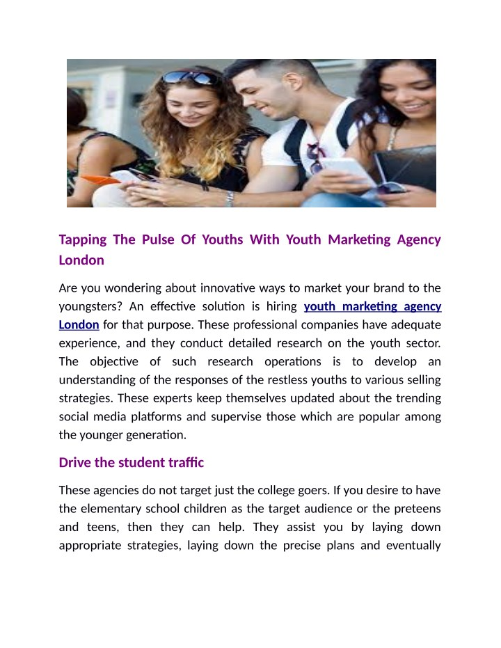 tapping the pulse of youths with youth marketing n.