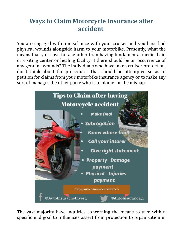 ways to claim motorcycle insurance after accident n.