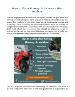 ways to claim motorcycle insurance after accident
