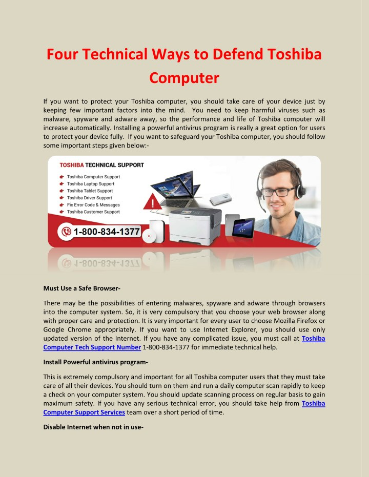 four technical ways to defend toshiba computer n.