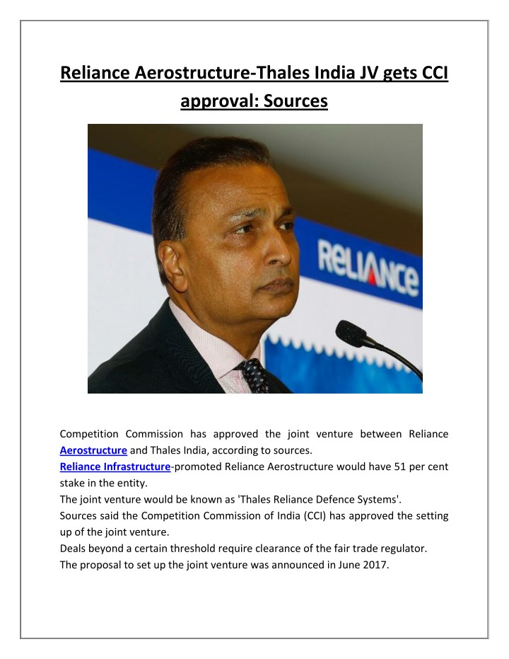reliance aerostructure thales india jv gets n.