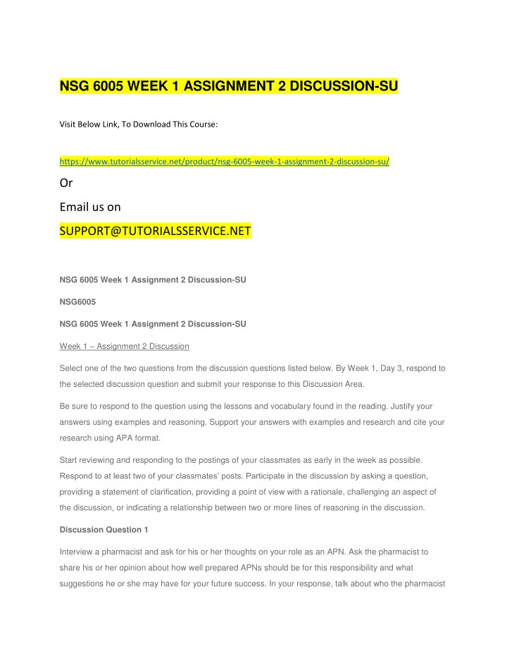 nsg 6005 week 1 assignment 2 discussion su n.