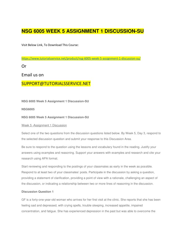 nsg 6005 week 5 assignment 1 discussion su n.