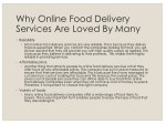 why online food delivery services are loved