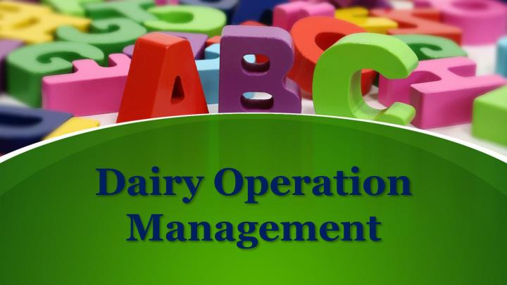 dairy operation management n.