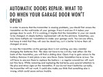 automatic doors repair what to do when your