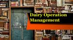 dairy operation management