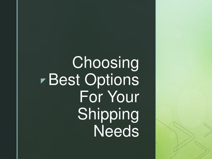 choosing best options for your shipping needs n.